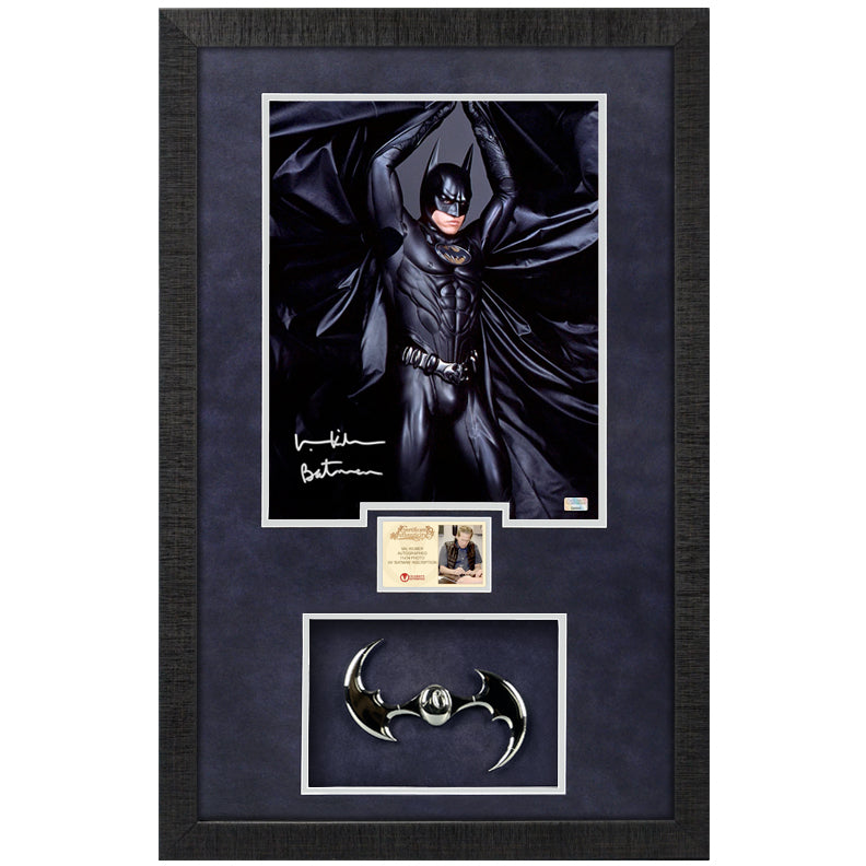 Val Kilmer Autographed Batman Forever 11x14 Photo With Chrome Batarang Framed Display