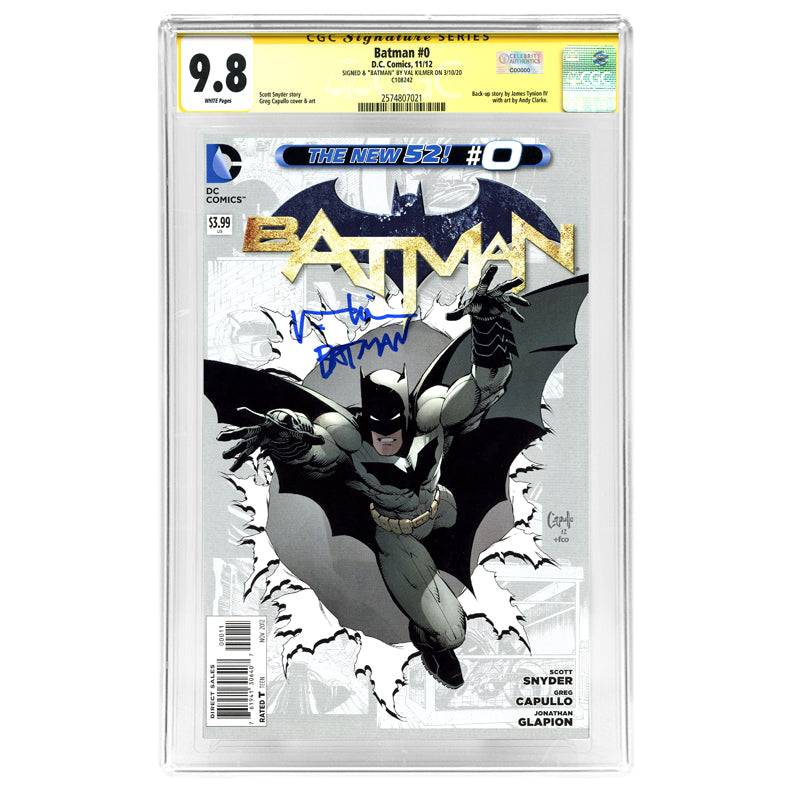 Val Kilmer Autographed 2012 The New 52 Batman #0 CGC SS 9.8 with Batman Inscription (mint)