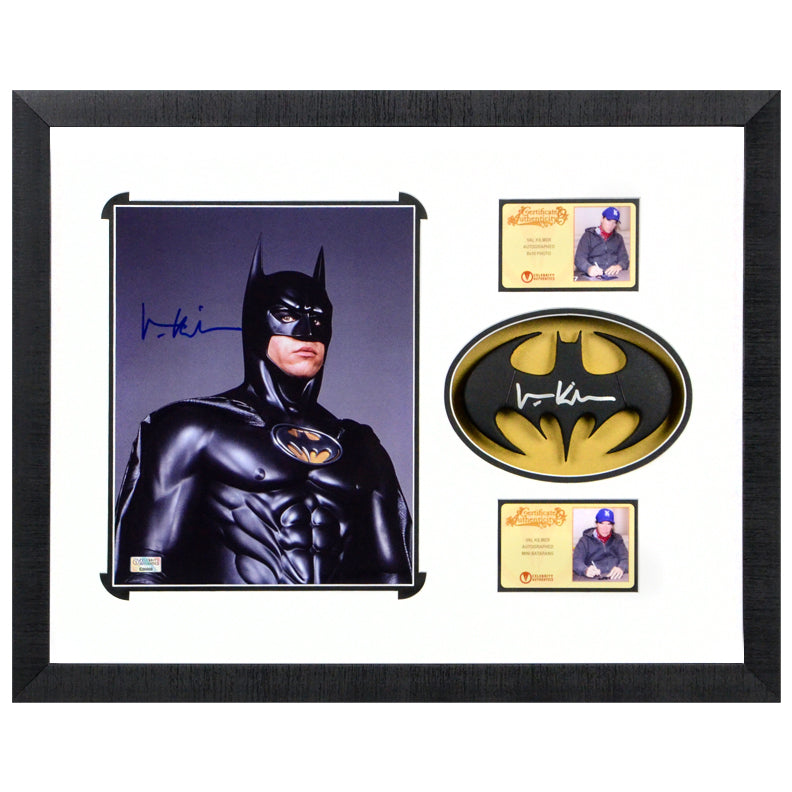 Val Kilmer Autographed Batman Forever 8x10 Photo With Cowl Emblem Framed Display