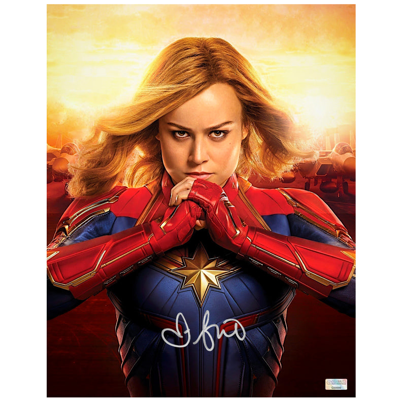 Brie Larson Autographed Captain Marvel Battle Ready 11x14 Photo