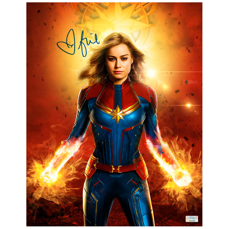 Brie Larson Autographed Captain Marvel In Flight 11x14 Photo