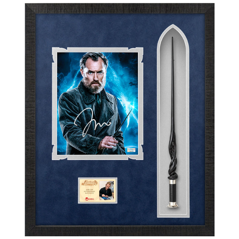 Jude Law Autographed Fantastic Beasts and Where to Find Them Albus Dumbledore 8×10 Photo With Wand Framed Display