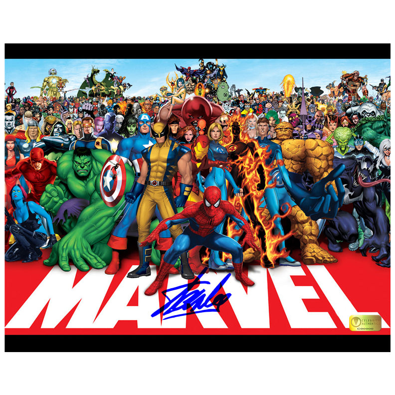 Stan Lee Autographed Marvel Heroes 8x10 Photo