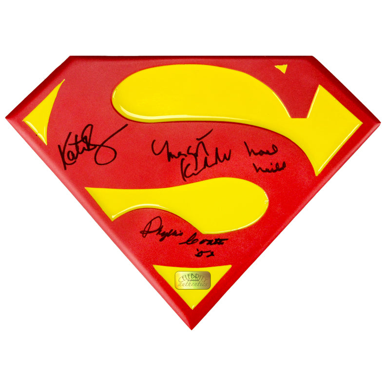 Kate Bosworth, Margot Kidder, Noel Neill and Phyllis Coates Autographed Lois Lane Superman Emblem