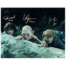 Load image into Gallery viewer, Elijah Wood, Sean Astin, Andy Serkis Autographed Lord of the Rings 11x14 Scene Photo
