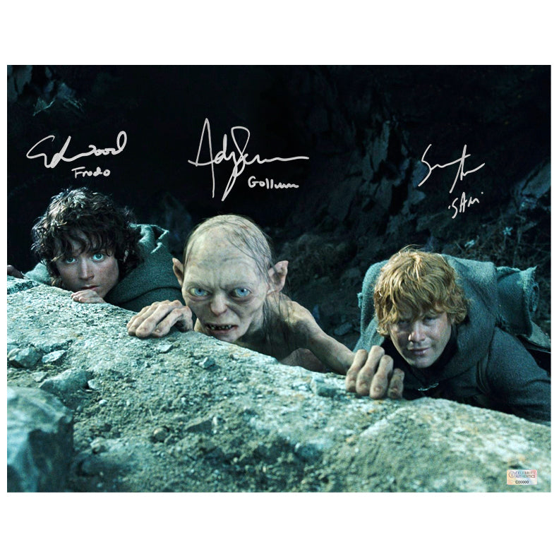 Elijah Wood, Sean Astin, Andy Serkis Autographed Lord of the Rings 11x14 Scene Photo