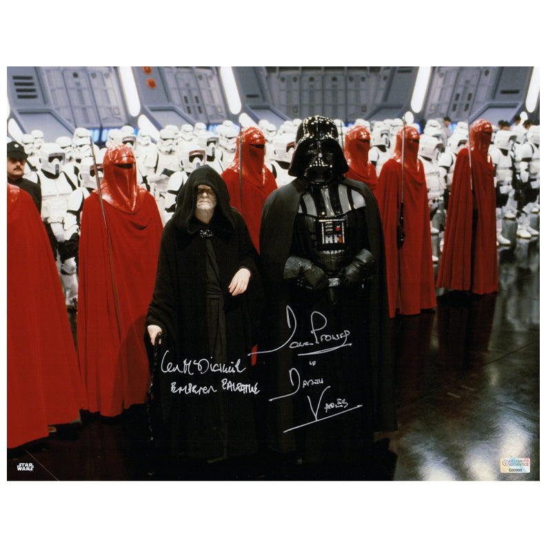 David Prowse and Ian McDiarmid Autographed Star Wars Darth Vader and Emperor Palpatine Death Star 11x14 Photo
