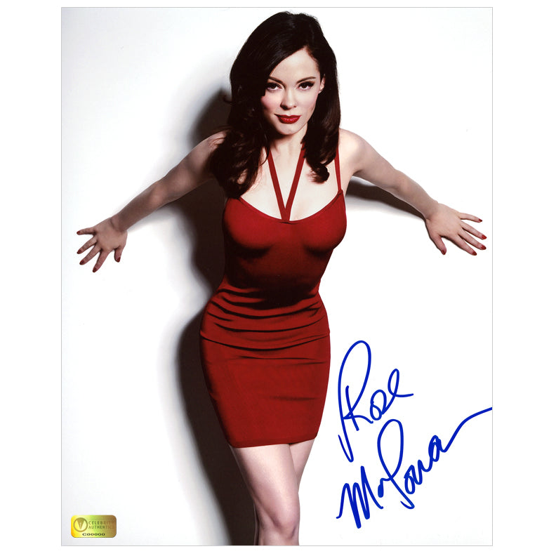 Rose McGowan Autographed Lady in Red 8×10 Photo