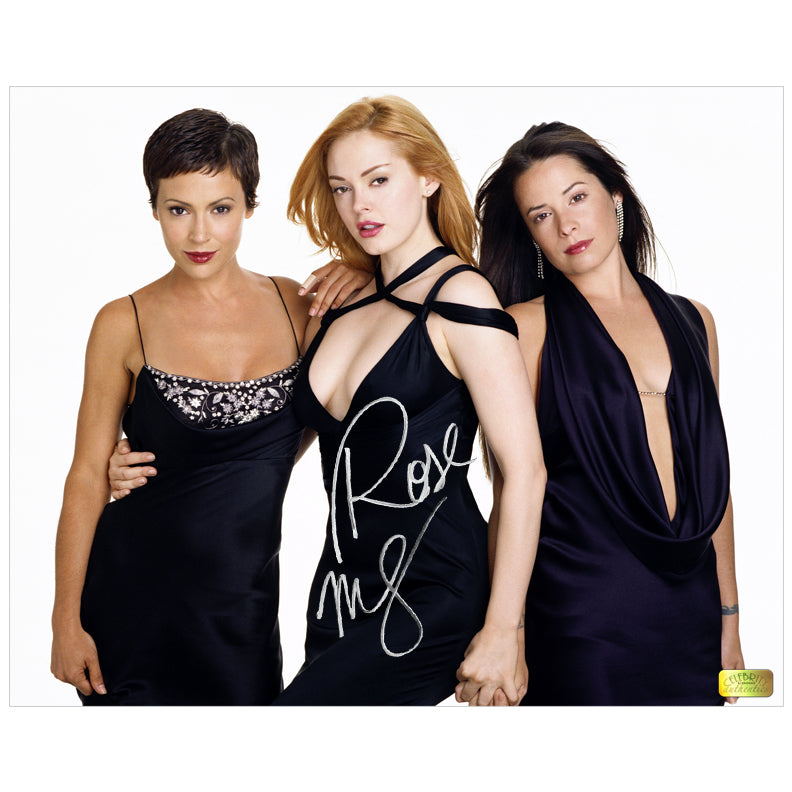 Rose McGowan Autographed Charmed Trio 8x10 Photo