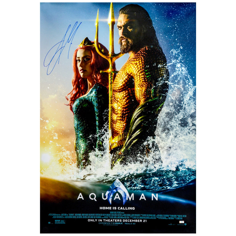Jason Momoa Autographed 2018 Aquaman Original 27×40 Double-Sided Movie Poster