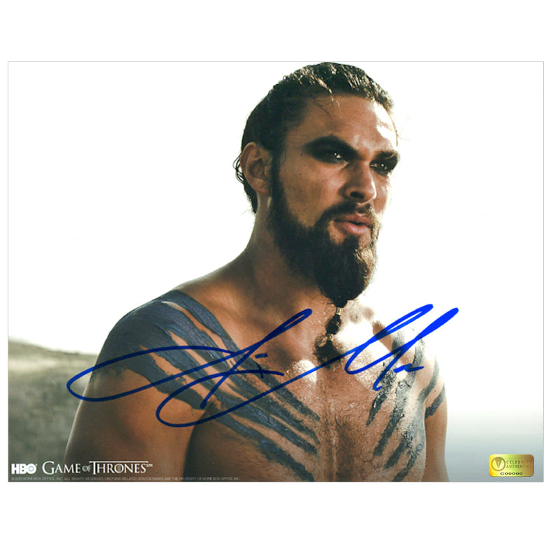 Jason Momoa Autographed Game of Thrones Khal Drogo 8x10 Close Up Photo