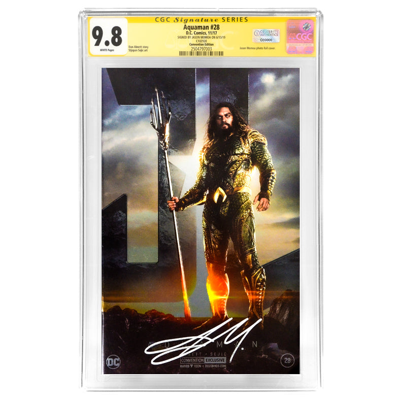 Jason Momoa Autographed Aquaman #28 Photo Foil Cover Variant CGC SS 9.8