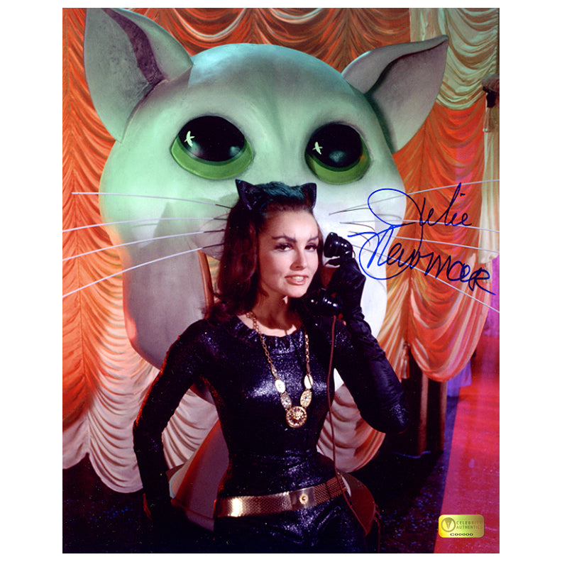 Julie Newmar Autographed Catwoman Cat Phone 8x10 Photo