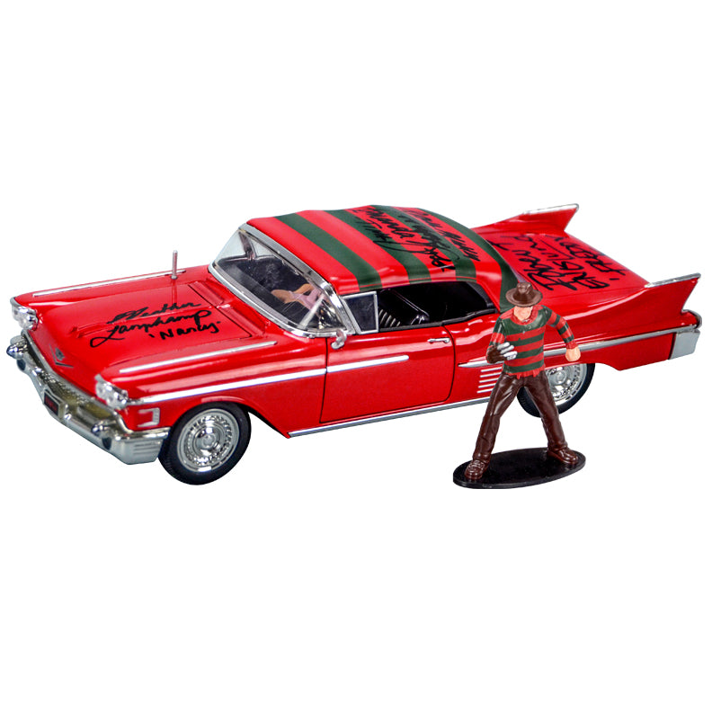 Robert Englund, Heather Langenkamp, Amanda Wyss, Ronee Blakley Cast Autographed A Nightmare on Elm Street 1958 Cadillac 1:24 Scale Die-Cast Car with Figure
