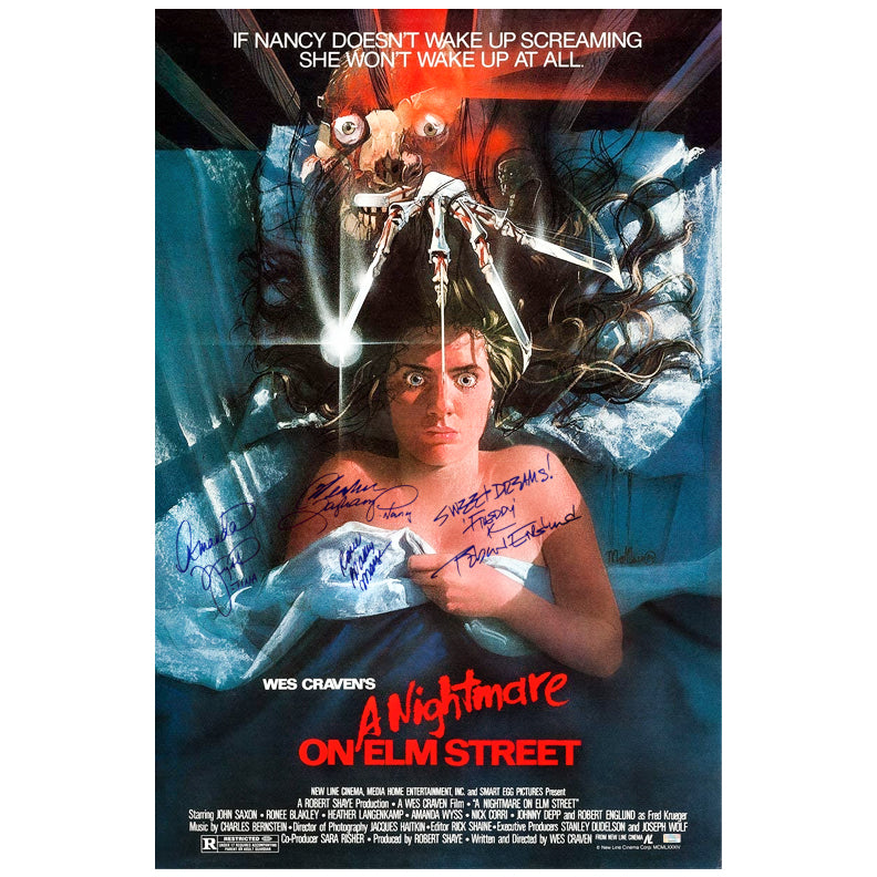 Robert Englund, Heather Lagenkamp, Amanda Wyss, Ronee Blakley Cast Autographed A Nightmare on Elm Street 27x40 Single Sided Movie Poster with Inscription