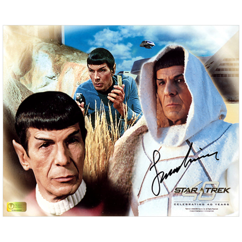 Leonard Nimoy Autographed Star Trek Spock 8x10 Collage Photo