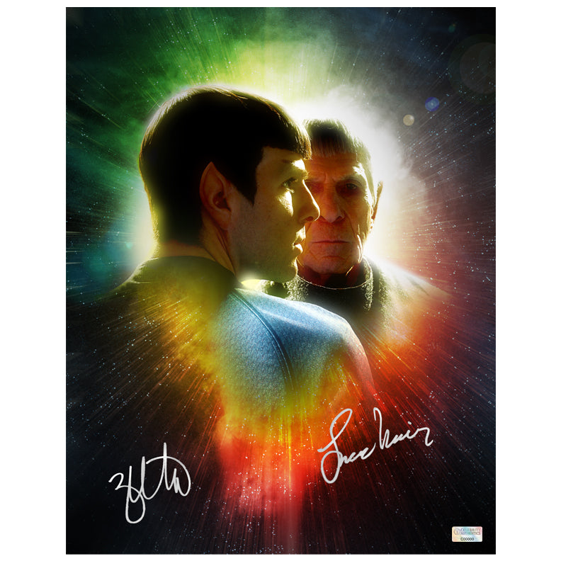 Leonard Nimoy and Zachary Quinto Autographed Star Trek Spock Legacy 11x14 Photo