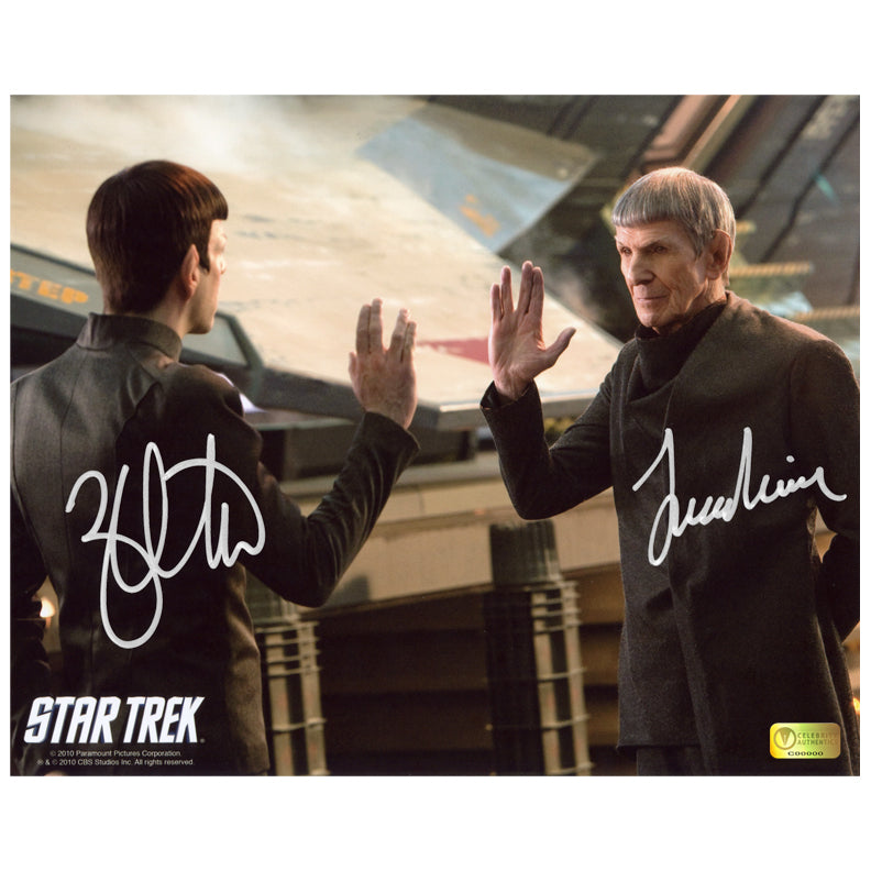 Leonard Nimoy and Zachary Quinto Autographed Star Trek Farewell 8x10 Photo