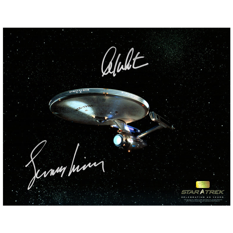 William Shatner and Leonard Nimoy Autographed Star Trek USS Enterprise 11x14 Photo
