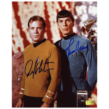 Load image into Gallery viewer, William Shatner and Leonard Nimoy Autographed Star Trek Landing Party 8x10 Photo