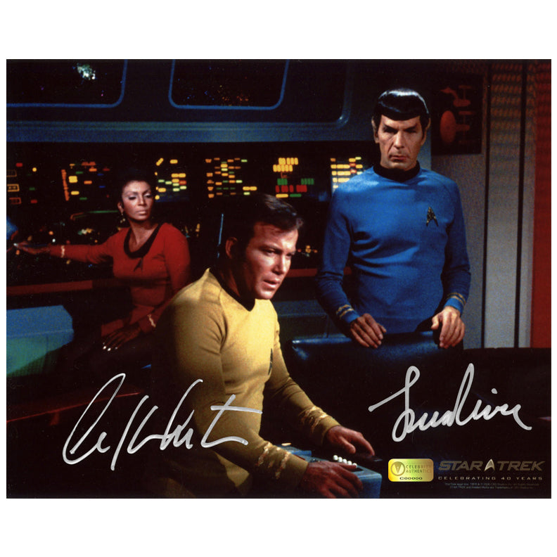 William Shatner and Leonard Nimoy Autographed Star Trek 8x10 Set Photo