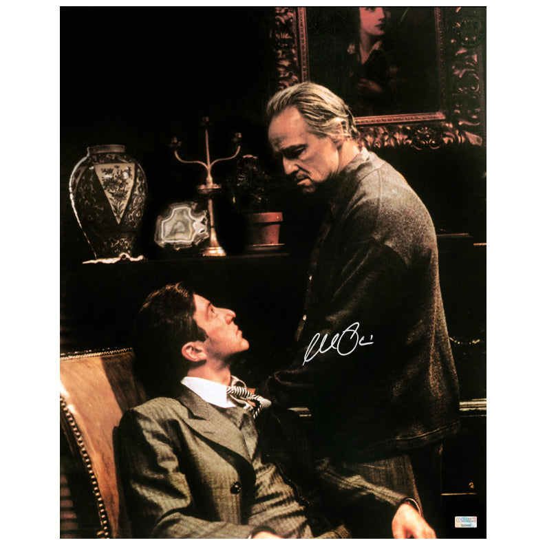 Al Pacino Autographed The Godfather Don Vito and Michael Corleone 16x20 Scene Photo