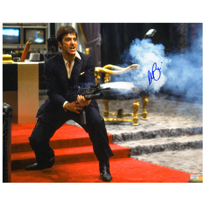 Al Pacino Autographed Scarface Tony Montana My Little Friend 16x20 Action Photo