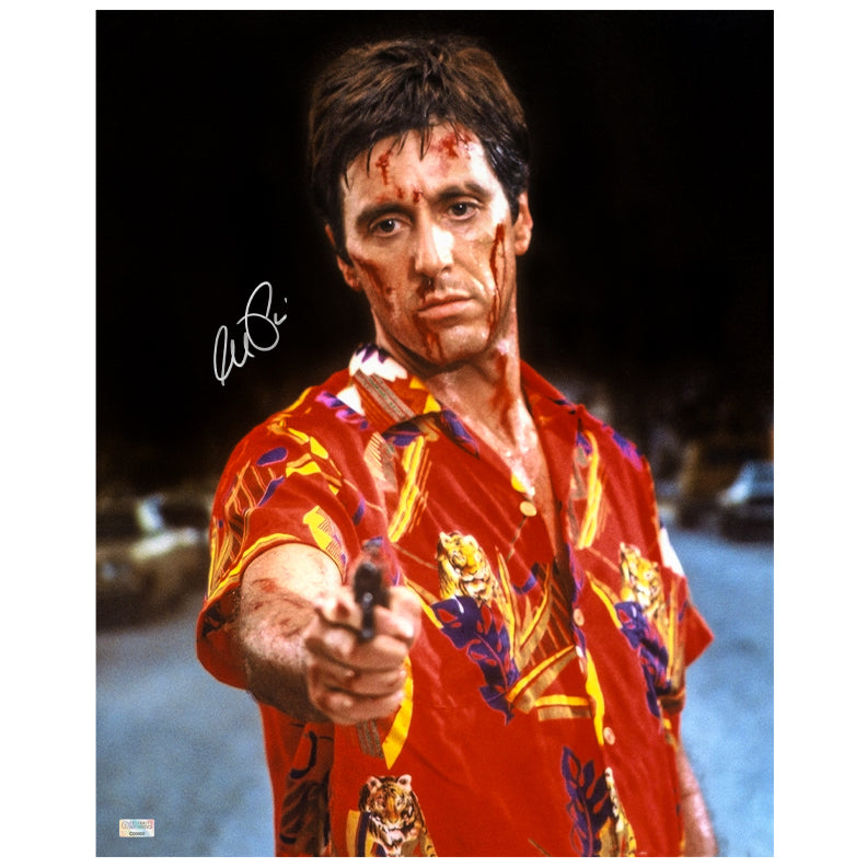Al Pacino Autographed Scarface Tony Montana Taking Aim 16x20 Photo