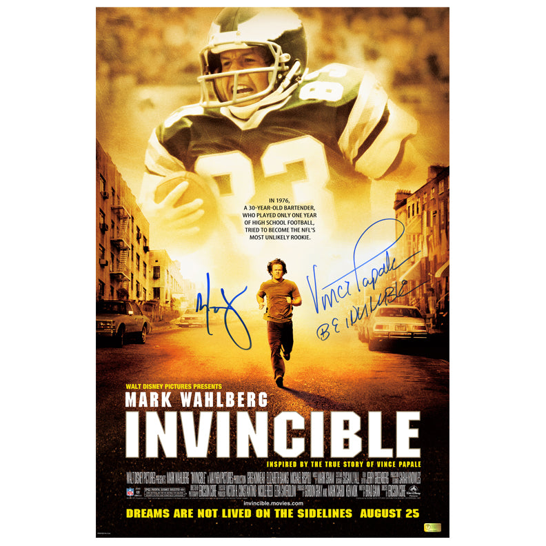 Mark Wahlberg and Vince Papale Autographed Invincible 16x24 Movie Poster
