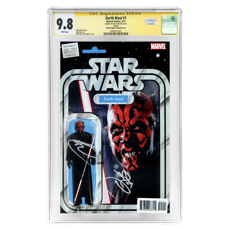 Ray Park Autographed Star Wars Darth Maul #1 CGC SS 9.8 with Action Figure Variant Cover