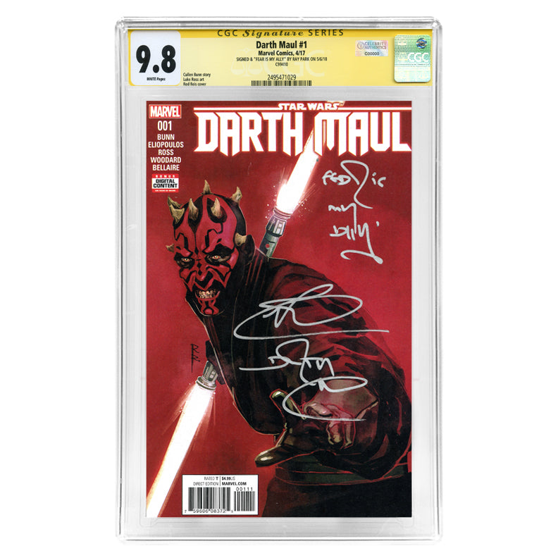 Ray Park Autographed Darth Maul #1 CGC SS 9.8 with Fear Is My Ally Inscription