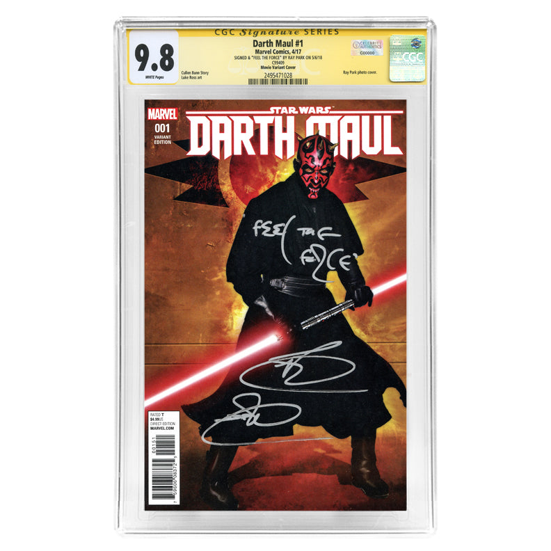 Ray Park Autographed Darth Maul #1 CGC SS 9.8 Photo Variant Cover with Feel the Force Inscription