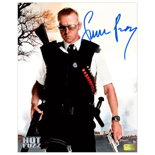 Simon Pegg Autographed Hot Fuzz Armed and Dangerous 8x10 Photo