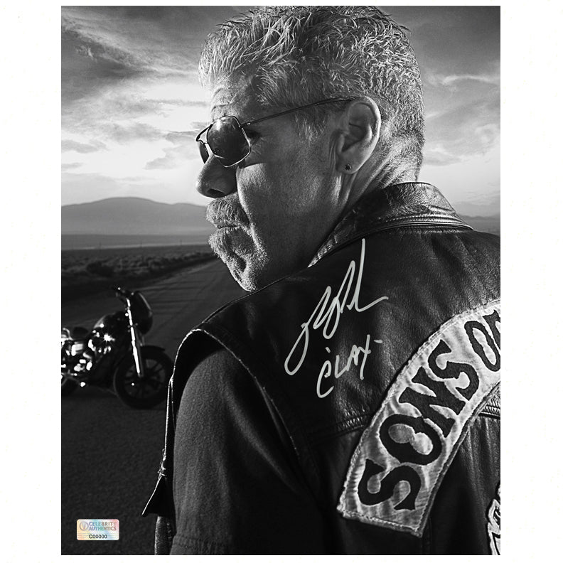 Ron Perlman Autographed Sons of Anarchy Clay 8x10 Black and White Photo