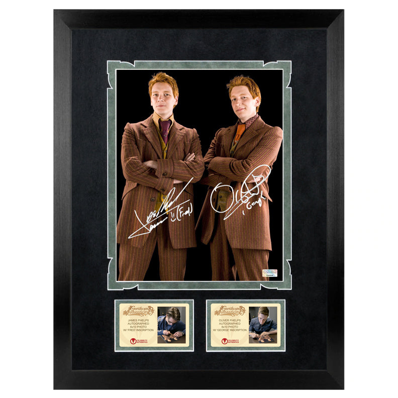 Oliver & James Phelps Autographed Harry Potter Fred & George Weasley 8x10 Photo