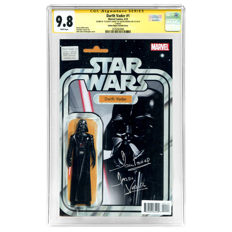 David Prowse Autographed Star Wars Darth Vader #1 CGC SS 9.8 Action Figure Variant Cover