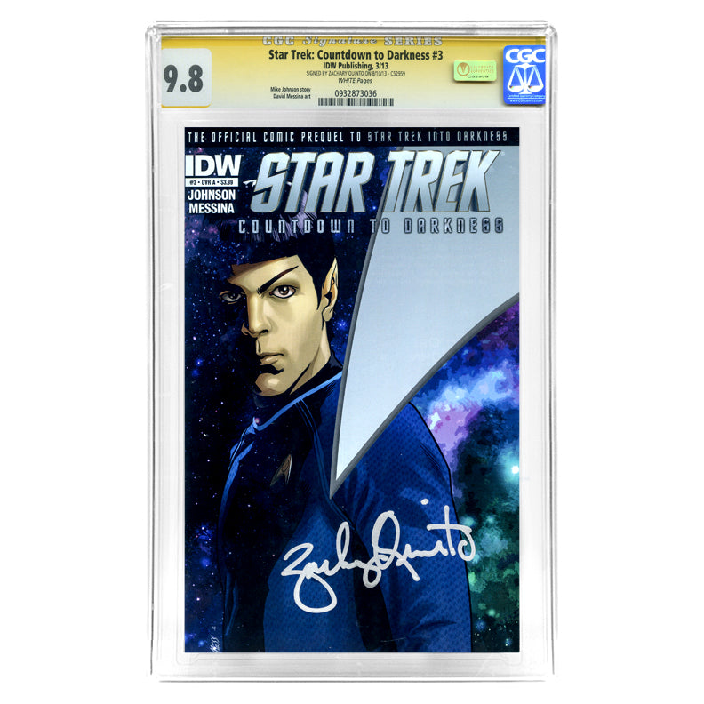 Zachary Quinto Autographed Star Trek: Countdown to Darkness #3 CGC SS 9.8