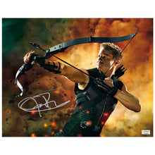 Load image into Gallery viewer, Jeremy Renner Autographed Avengers Hawkeye 11×14 Action Photo