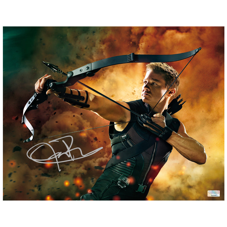 Jeremy Renner Autographed Avengers Hawkeye 11×14 Action Photo