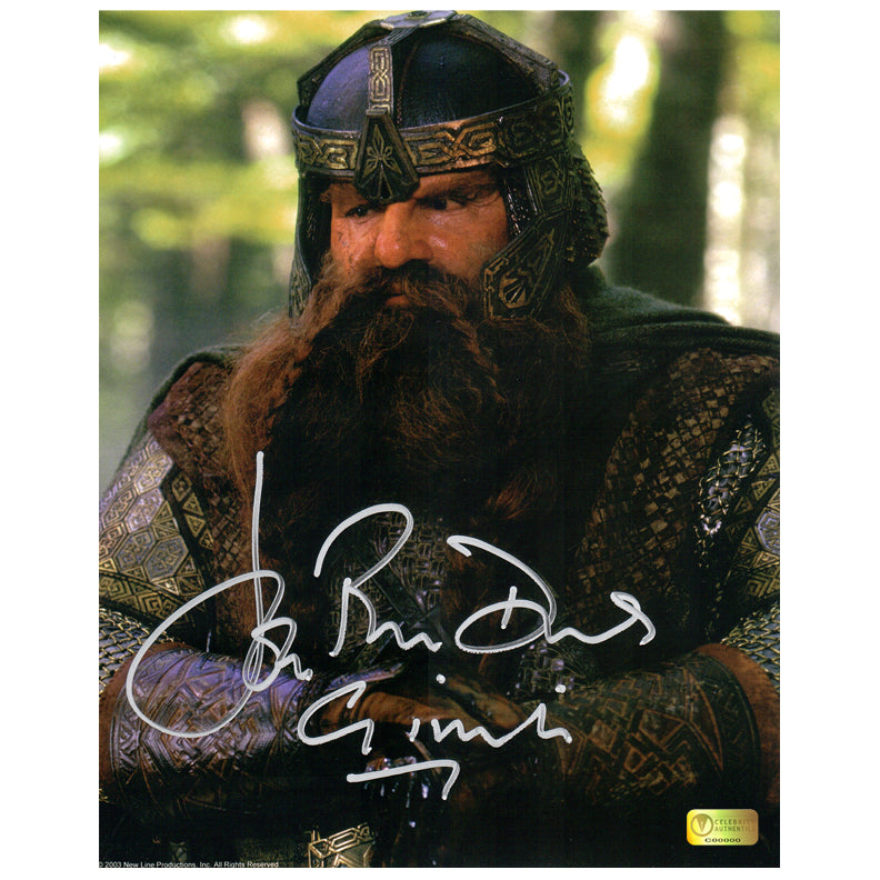 John Rhys-Davies Autographed Lord of the Rings Gimli 8x10 Close Up Photo