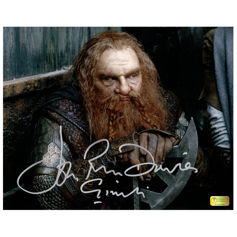 John Rhys-Davies Autographed Lord of the Rings Gimli Axe 8x10 Photo