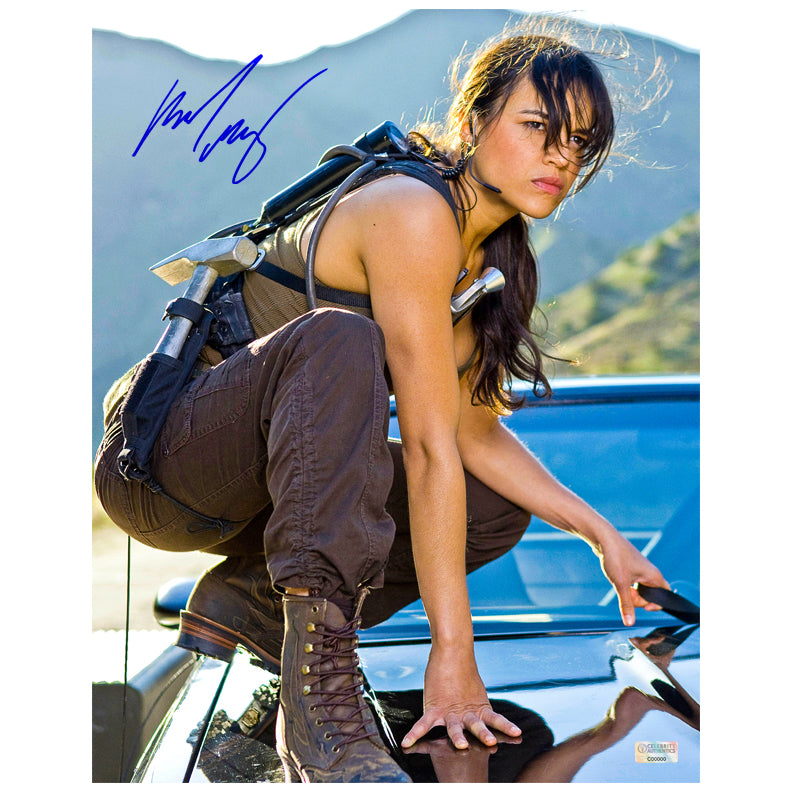 Michelle Rodriguez Autographed Fast and Furious Dodge Charger 11x14 Action Photo