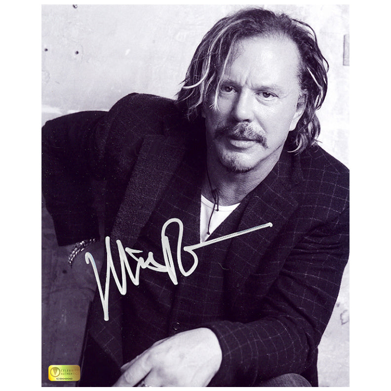 Mickey Rourke Autographed Black and White 8x10 Portrait Photo
