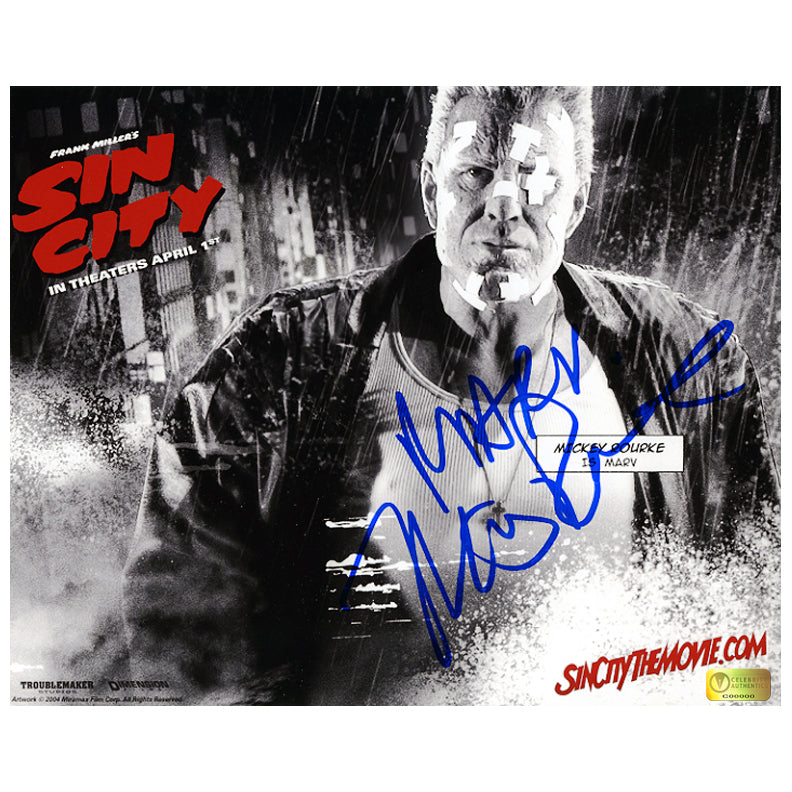 Mickey Rourke Autographed Sin City Marv 8x10 Photo