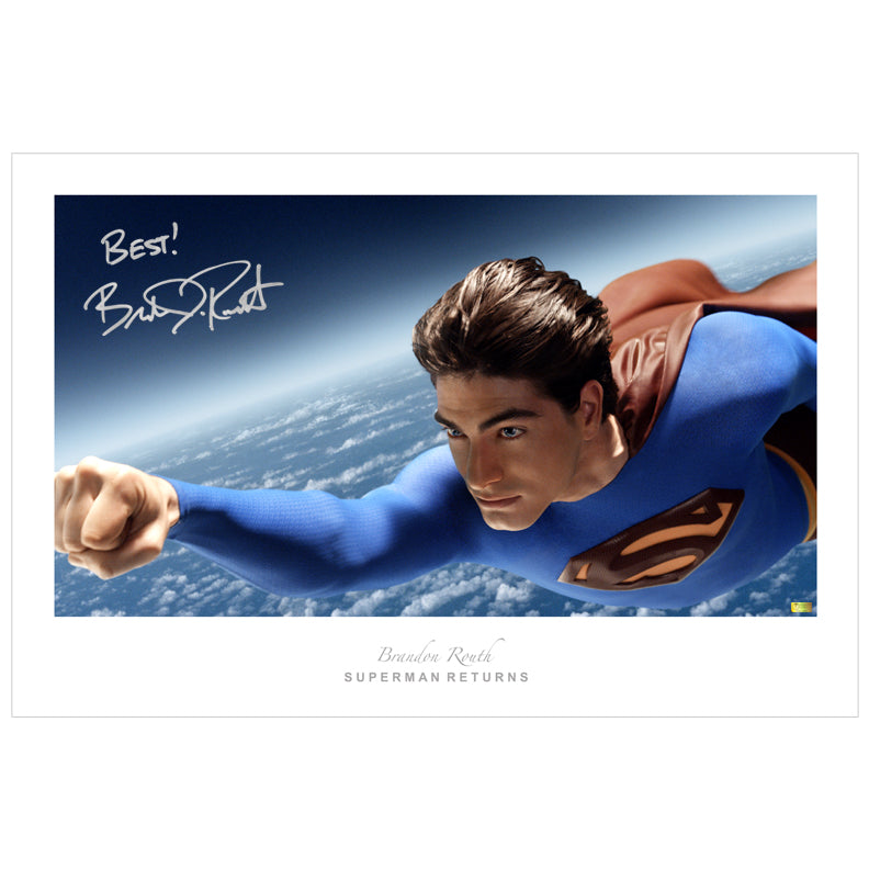 Brandon Routh Autographed Superman Returns Soaring 20x30 Fine Art Photo