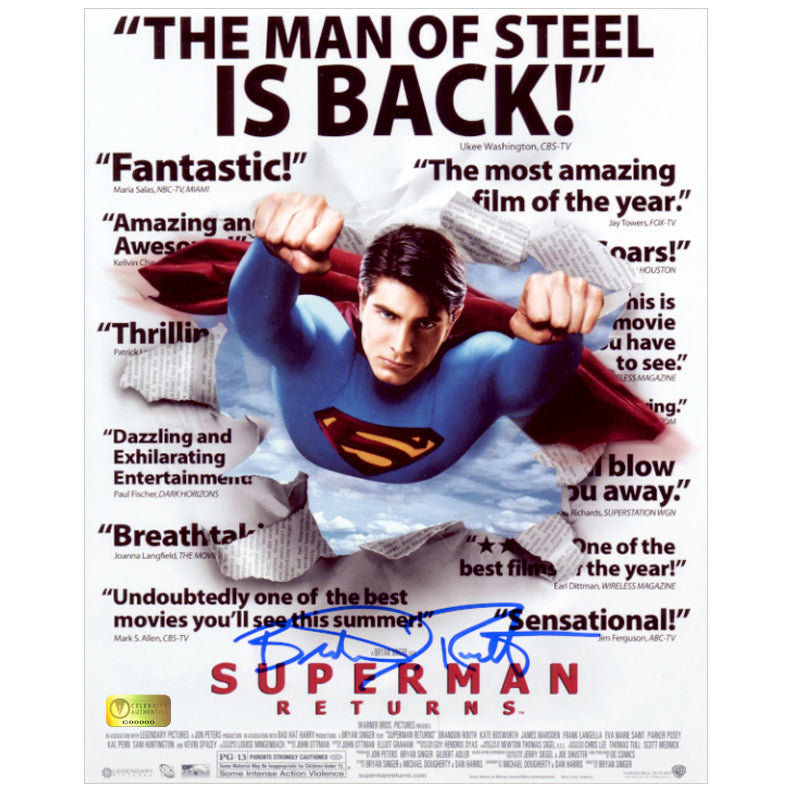 Brandon Routh Autographed Superman Returns Headlines 8x10 Photo