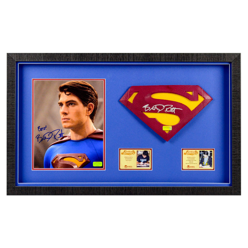 Brandon Routh Autographed Superman Returns 1:1 Scale Superman Emblem and 8×10 Scene Photo Framed Display Set