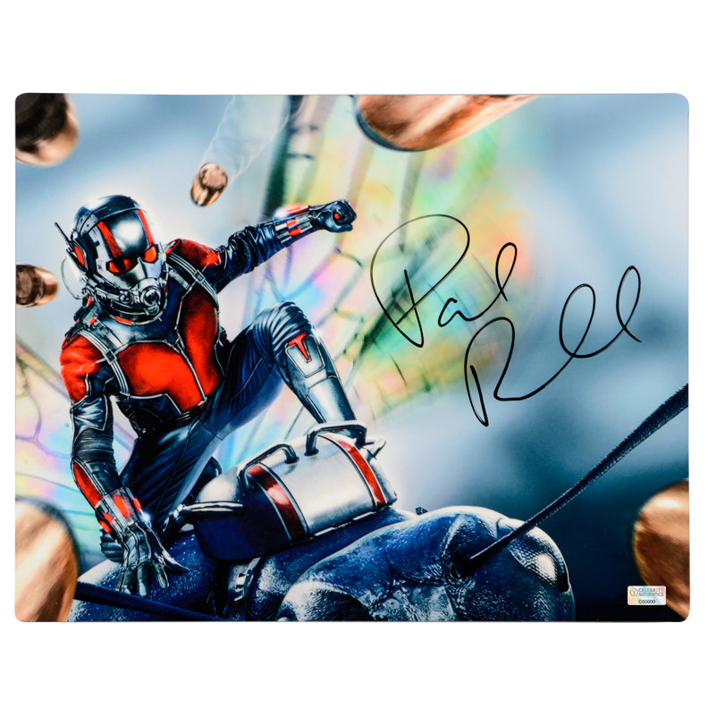 Paul Rudd Autographed Ant-Man Action 12×18 CinaPanel
