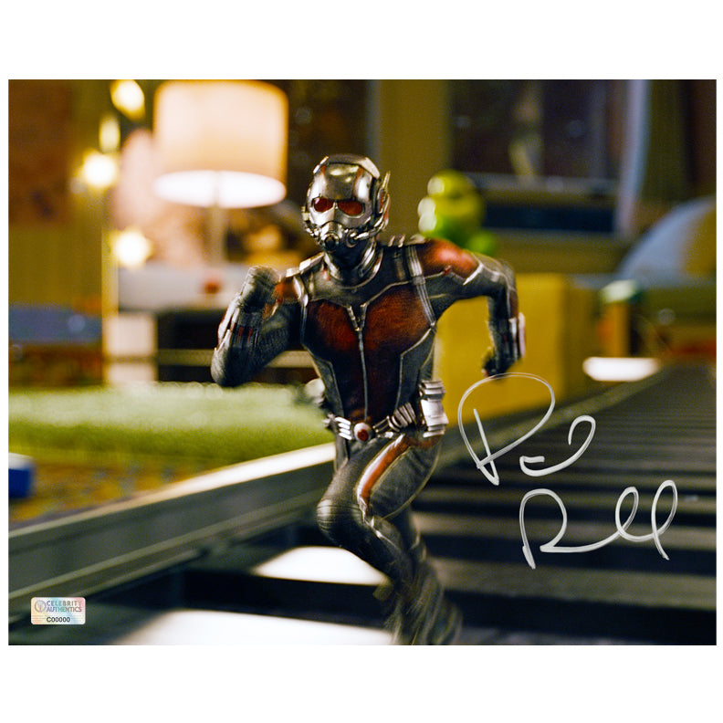 Paul Rudd Autographed Ant-Man Train Tracks 8×10 Photo