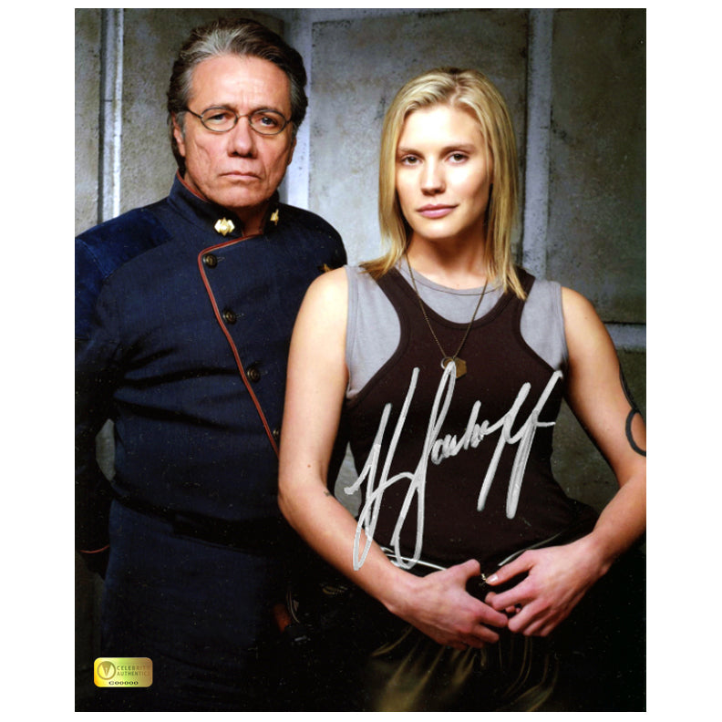 Katee Sackhoff Autographed Battlestar Galactica Starbuck and Commander Adama 8×10 Photo